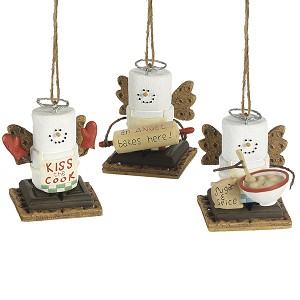 S'more Cooking Angel Ornaments - Set of 3